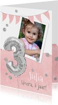 Uitnodiging 3 jaar eigen foto en folieballon