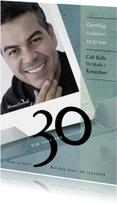 Uitnodiging 30ste verjaardag in groenblauwe tinten