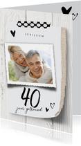 uitnodiging 40 jaar getrouwd licht hout en linnen