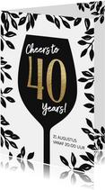Uitnodiging 40 jaar verjaardag Cheers