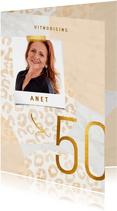 Uitnodiging 50 jaar goud met panter en marmer abstract