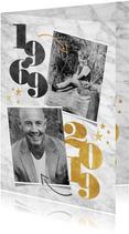 Uitnodiging 50 jaar met jaartallen, foto's, marmer & sterren