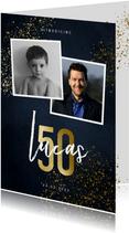 Uitnodiging 50 jaar stijlvol goudlook met foto en spetters
