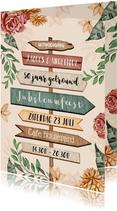 Uitnodiging 50 jarig jubileum wegwijzers en bloemen