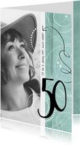 Uitnodiging 50ste verjaardag, modern en speels