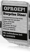 uitnodiging - advertentie Surprise Diner