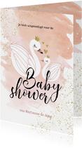 Uitnodiging Babyshower meisje zwaan zwaantjes