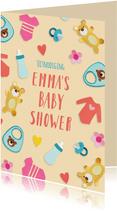 Uitnodiging babyshower met baby spulletjes
