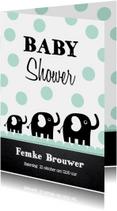 Uitnodiging babyshower olifantjes mint
