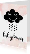 Uitnodiging babyshower wolk hartjes
