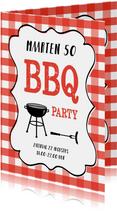 Uitnodiging barbecue rode ruitjes en tekstkader