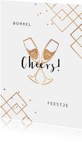 Uitnodiging borrel feestje champagne cheers goud confetti