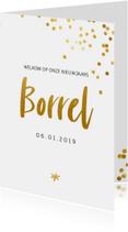 Uitnodiging borrel met gouden confetti