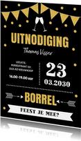Uitnodiging borrel typografie slinger goudlook confetti