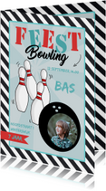 Uitnodiging Bowlingfeest streep