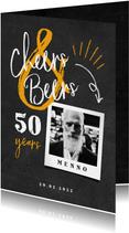 Uitnodiging 'cheers & beers' krijtbord met foto