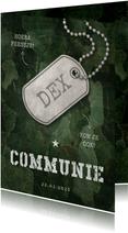 Uitnodiging communie army stoer met legerplaatje