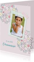 Uitnodiging communie bloemenillustratie