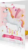 Uitnodiging communie feestje met een eenhoorn unicorn