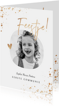 Uitnodiging communie foto stijlvol wit met gouden spetters