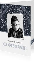 Uitnodiging communie jongen spetters stoer foto's