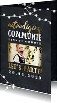 Uitnodiging communie lampjes goud met foto
