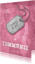 Uitnodiging communie roze stoer met legerplaatje