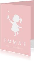 Uitnodiging communie silhouet meisje met vllinders