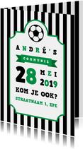 Uitnodiging communie voetbal strepen met badge