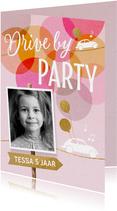 uitnodiging drive in kinderfeestje meisje