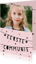 Uitnodiging eerste communie confetti, slingers en foto's