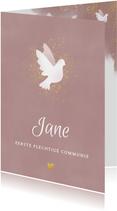 Uitnodiging eerste communie met duif , waterverf en goud
