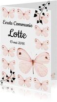 Uitnodiging Eerste Communie met lieve roze vlinders