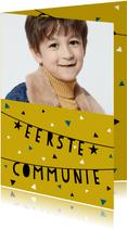Uitnodiging eerste communie met slingers, confetti en foto
