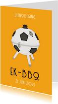 Uitnodiging EK barbecue - oranje met voetbal bbq