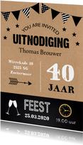 Uitnodiging feest kraft typografie