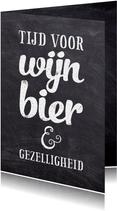 Uitnodiging feest krijtbord algemeen bier wijn