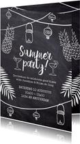 Uitnodiging feest Summer Party krijtbord