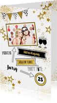 Uitnodiging feestelijke foto kaart met gouden sterren