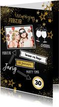 Uitnodiging feestelijke foto kaart met gouden versiering