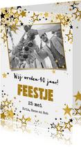 Uitnodigingen - Uitnodiging feestje moderne feestelijke fotokaart  sterren