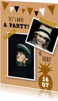 Uitnodiging feestje slingers goud en glitter