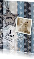 Uitnodiging foto blauw hout ster S
