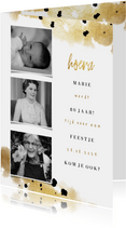 Uitnodiging fotocollage 3 foto's met goud en confetti