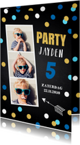 Uitnodiging fotocollage confetti krijtbord jongen