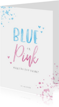 Uitnodiging gender reveal blue or pink confetti