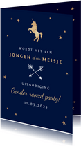 Uitnodiging gender reveal party baby jongen meisje unicorn