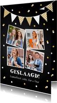 Uitnodiging geslaagd feest foto slinger confetti