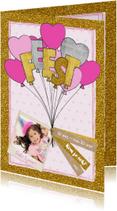 Uitnodiging glitter en glamour ballonnen en hartjes