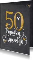 50 jaar huwelijksjubileum uitnodiging goudlook